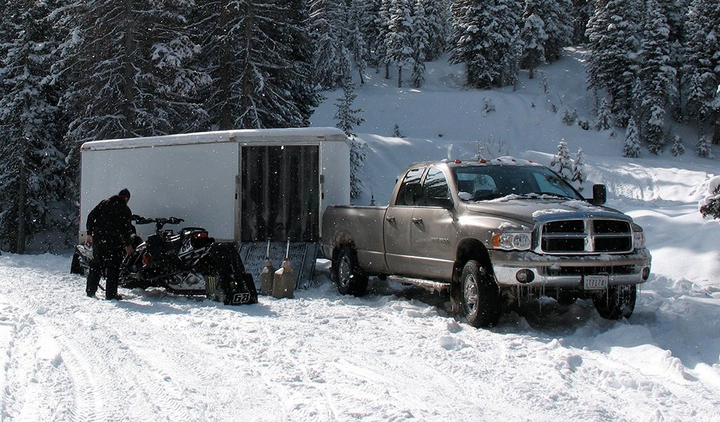 Truck Towing Trailer Winter