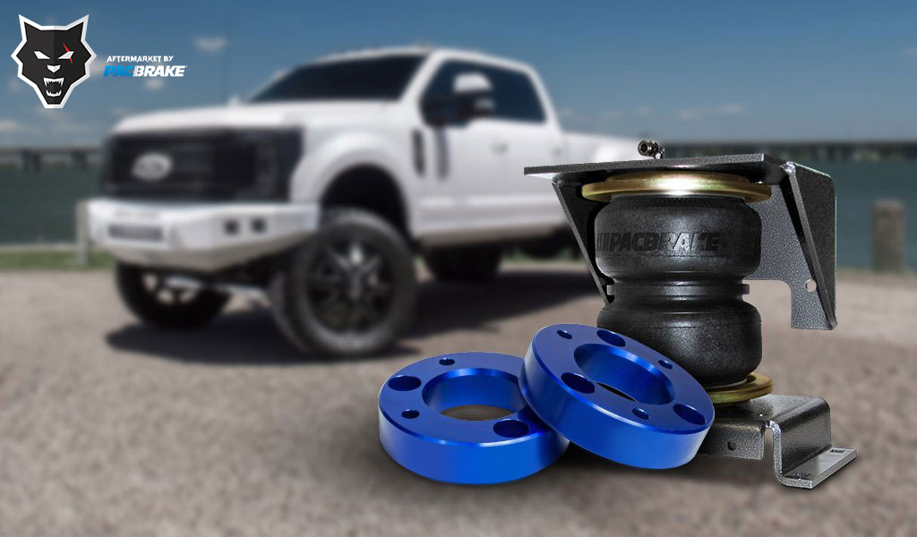 air spring kit and leveling kit with a truck